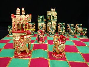 Wooden Chess Set hand crafted hand painted artisan India art Craft fine carving