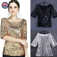 Fashion Women Sequin Lady Sparkle Glitter Blouse Short Sleeve Party Top Shirt US