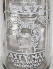 Vintage soda pop bottle TASTY MAID woman pictured quart Madera California Rare