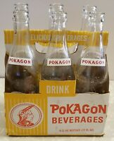 Vintage soda pop bottle POKAGON red and white indian  6 pack Angola Indiana