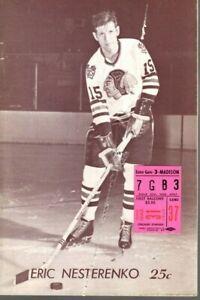 1968 3/31 Hockey program/ticket Detroit Red Wings @ Chicago Blackhawks ~ Poor