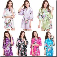 15 Color Bridesmaid Peacock Short Kimono Robe Wedding Women Satin Silk Sleepwear