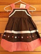 Janie and Jack Ice Cream Social 2 Piece Dress Brown Pink w/Dots NWT 3-6 Months