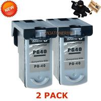 2 PK PG-40 Black Ink for Canon FAX JX200 PIXMA iP1600 MP140 MX310 MP450 MP470