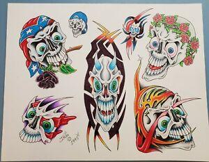 vintage original '95 tattoo flash inkee tribal skull cap biker from monk