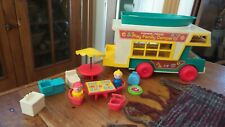 Vintage FISHER-PRICE  Little People RV CAMPER, BOAT TOY, Accessories, 994