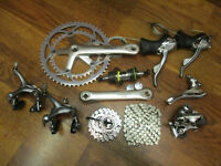 VINTAGE SHIMANO 600 TRI COLOR GROUP GRUPPO BUILD KIT 170 53/39 2x8 SPEED DOUBLE