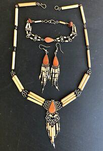 Orange Jasper Semi-Precious Stone Bamboo Peru Necklace Bracelet Earrings Set