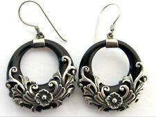 Horn Earrings 925 Sterling Silver Genuine Hand Carved Water Buffalo