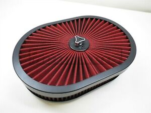 """Black 12""""x2 Oval Super flow Thru Air Cleaner Washable SBC BBC Chevy Ford Hot Rod"""