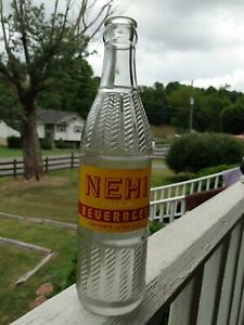 NEHI  1948  Soda Bottle 12 oz Red on Yellow acl Bluefield  VA very clean