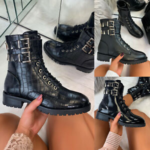 New Womens Biker Ankle Boots Lace Up Zip Low Heel High Top Shoes Sizes 3-8