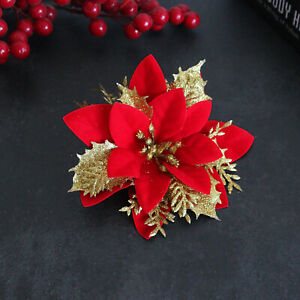 10x Artificial Christmas Glitter Flowers Tree Hanging Xmas Party Tree Decoration