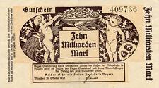 Germany 10 Billions Mark 1923 Reichsbahn 409736 Munchen