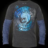 AFFLICTION Mens 2fer THERMAL T-Shirt BONNEVILLE Motorcycle Biker Jeans $68