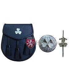 """Scottish Kilt Pin Irish Shamrock 4""""/Fly Plaid Brooch Irish Shamrock/Kilt Sporran"""