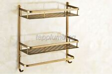 Antique Brass Dual Layer Bathroom & Kitchen Shelf Basket Wall Mounted tba527