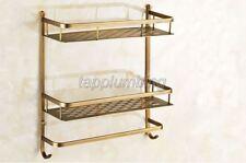 Antique Brass 2 Tier Bathroom & Kitchen Shelf Storage Rack Wall Mounted tba527