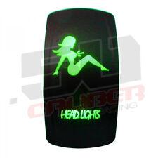 Head Lights Design On/Off Rocker Switch Waterproof Green Illuminated 12V 24V ATV