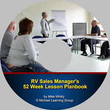 RV Sales Training - RV Sales Manager 52 Week Lesson Planbook eBook on CD