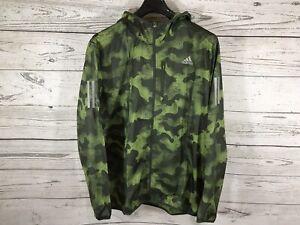 Adidas Mens Green Camo Own The Run Windbreaker Hooded Jacket Size Large NWT