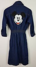 VINTAGE RETRO 90S BOLD RARE DISNEY MICKEY MOUSE USA DENIM SHIRT DRESS SMOCK