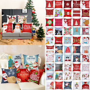 "18""Xmas Pillow Case Sofa Cushion Covers Home Christmas Snowflake Santa Elk Decor"