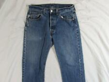 Levi 501 Button Fly Straight Leg Faded Denim Jeans Tag 32x30 Measure 32x30