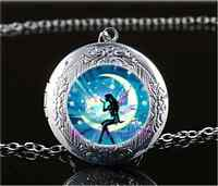 Fairy In Moon Photo Glass Tibet Silver Chain Locket Pendant Necklace