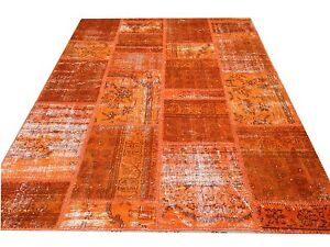 CUSTOM MADE orange vintage Overdyed Rug Handmade Turkish Patchwork Carpet rug