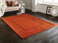 Sierra Apollo Rust Orange Brown Sculptured Wool Rug in various sizes