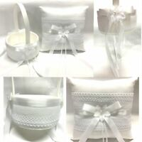 NEW Wedding Flower Girl Basket Ring Pillow Flower w Lace Flowergirl White Ivory