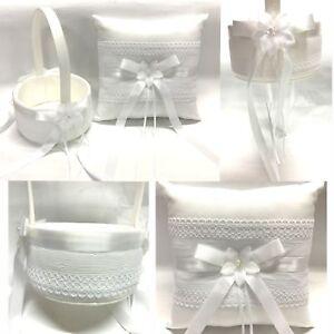 NEW Wedding Flower Girl Basket Ring Pillow Flower w Lace Flowergirl White Ivory