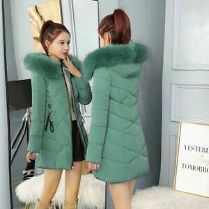 New Winter Women's Down Cotton Parka Fur Collar Hooded Coat Warm Jacket XS-XL