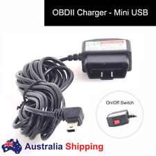 Car OBDII Charging Cable for DVR Cam Phone Mini USB Power Adapter Switch Button