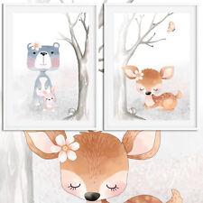 ~Zuckersüße~ Baby Zimmer Bilder 2er Set Kunstdruck Bild Reh Bär Tiere A4 | Set 9