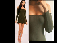 Women Off Shoulder Bardot Jumper Dress Frill Ruffle Knit Top Long Sleeve Bodycon