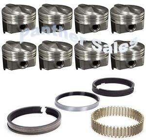 Chevy 7.4 454 Silvolite Hypereutectic Coated 30cc Dome Pistons Rings Set 8 .060