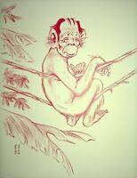 [Karikatur] Georges Bastia - pierre Larquay, Affe - Lithografie Unterzeichnet
