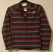 The North Face Colorful Striped Fleece Hoodie Zip Up Jacket Girls Size L 14-16