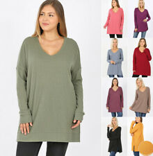 1X-3X Women's Plus Cozy Soft Knit Tunic Sweater Long Sleeve V-Neck Pullover Top