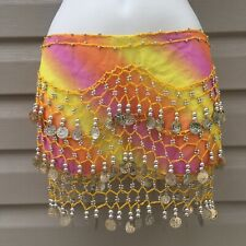 (111268)New Belly Dance Tie Dye Hip Skirt Scarf Wrap Belt Coins Dancing  costume