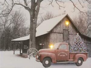 Mac's Tree Farm new Winter Led Canvas Wall Print- Battery Operated