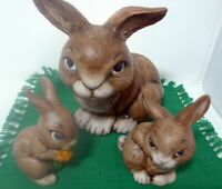 1985 Vintage Porcelain Mom Rabbit Twin Baby Bunny Figurines Hand Painted Family