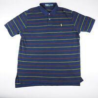 Ralph Lauren Blue Striped Men's Size 2XL XXL Short Sleeve Polo Shirt Yellow Logo