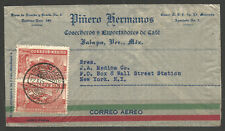 MEXICO. 1938. AIR MAIL COVER. JALAPA POSTMARK. PINERO HERMANOS COFFEE EXPORT.
