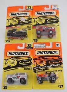 Lot of 4 Matchbox 1/64 Volvo Truck #23 Chevy Van #26 Bronco II #39 Jeep 4x4