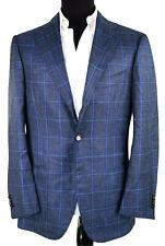 Cesare Attolini Sport Coat ~42L In Blues & Black Windowpane Vicuna Blend Recent