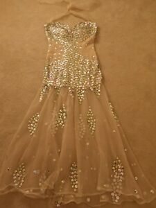 SMALL BEAUTIFUL JEWELLED DANCE DRESS COSTUME GOWN PERFORMANCE SHOW BALLROOM GLAM