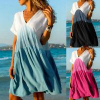 Women's Casual Patchwork Summer Color V-neck Short Sleeve Foldingd Loose Dress